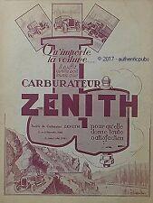PUBLICITE ZENITH CARBURATEUR POUR VOITURE SIGNE CASTE DE 1926 FRENCH AD PUB RARE