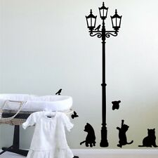 Vinyl Cats Street Lamp Lighs Stickers Wall Decal Removable Art Mural Decal LA3