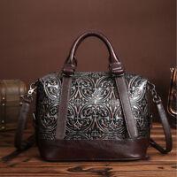 Women Genuine Leather Tote Bag Messenger Shoulder Bags Embossed Cowhide Handbag
