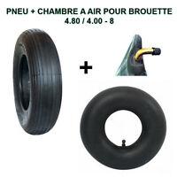 KIT SPECIAL BROUETTE Pneu 4.80/4.00-8 avec chambre à air avec valve coudé NEUF