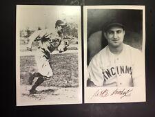 Mike Modak Cincinnati Reds Vintage 2X Signed Postcard JSA Pre-cert. 1940s