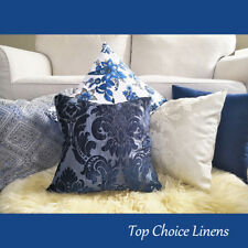 Home Mix & Match Navy/Indigo Blue Paisley Damask Hamptons Lounge Cushion Cover