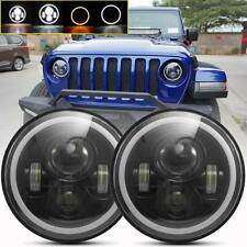 Pair 7 Inch Round LED Headlights Halo Angle Eyes For Jeep Wrangler JK LJ TJ CJ