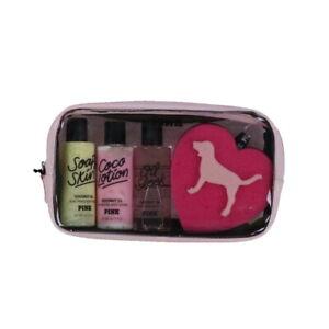 Victoria's Secret Pink Coconut Oil 4 Piece Bath Sponge Gift Set Damaged No Tags