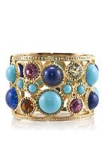 Kenneth Jay Lane Multi Stone Hinged Cuff Bracelet gold turquoise Renaissance NEW
