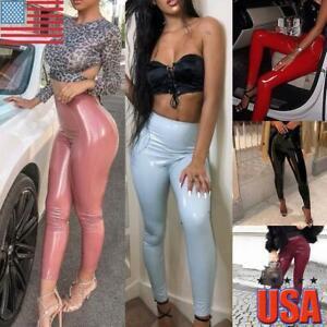 Ladies Women Wet Look PU Leather High Waist Leggings Stretch Pant PVC Trouser US