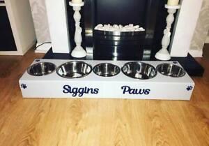 personalised dog bowl water and feeding station, raised dog bowls