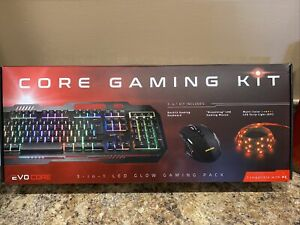 EVO CORE GAMING KIT 3 IN 1 LED GLOW PACK NEW IN BOX KEYBOARD MOUSE STRIP LIGHT