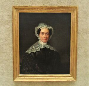 19th c. Portrait Oil Painting Woman Lady Antique Victorian in Gilt Wood & Gesso