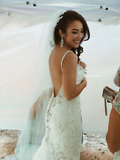 Kenneth Winston Ivory Champagne Wedding Dress -Sz 12- Low Back/Long Train/Sheath