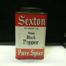 """Vintage Sexton Whole Black Pepper Tin  John  Sexton & Co. Chicago IL Empty 6"""""""