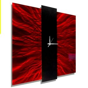 Large Red Square Metal Wall Clock - Contemporary Wall Art - 2ft x 2ft- Jon Allen