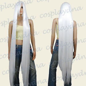 "60"" Heat Resistant White Extra Long Straight Cosplay Wigs with Side Bangs 811001"