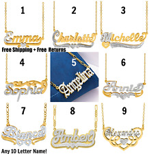 Personlized Double Plated Necklace Sterling Silver Gold plated ANY NAME 36 STYLE