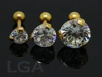 1 Tragus Bar Ring Helix Cartilage Ear Stud 16g 6mm SOLITAIRE 5 7 or 9mm GOLD PL*