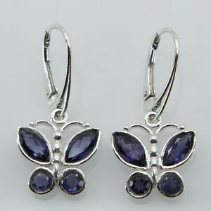 Genuine Natural Blue IOLITE Butterfly Earrings 925 STERLING SILVER Leverback #27