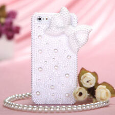 For iPhone SE / 5S - DIAMOND RHINESTINE BLING CASE COVER 3D PEARL WHITE BOW