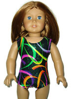 "Sparkly Swirl Leotard fits American Girl 18"" doll clothes Gymnastics Sleeveless"