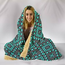 Boho Seamless Blue Pattern Hooded  - Sherpa And Microfiber Blanket With Hood