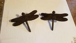 """CAST IRON SET OF 2  Dragonfly Nail   Rustic Brown  6"""" x 4""""  WALL DECOR  CRAFTS"""