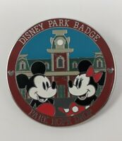 Disney Park Badge Park Rope Drop Mickey Minnie LR Pin Trading
