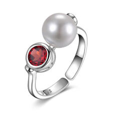 JewelryPalace Bazel Set Garnet Shell Pearl Adjustable Ring 925 Sterling Silver