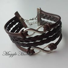 Leather Friendship double infinity bracelet. Magical/wizard/witch