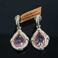 Charles krypell 14k oro rosa & argento sterling Rosa Topazio orecchini