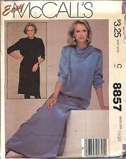 UNCUT Vintage McCalls SEWING Pattern Misses Slim Pullover Dress Tie Belt 8857 FF
