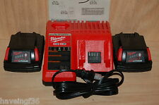 New Milwaukee M12 & M18 Dual Charger w/ 2 - M18 Batteries 48-11-1815  1.5 amp