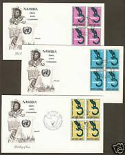 UN NY #296-297 & Geneva #76 - Namibia Set of 3 Artmaster B4FDCs
