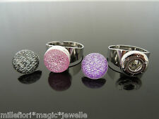 Adjustable Costume Ring With 3 Interchangeable Press Studs ~ Glitter Designs