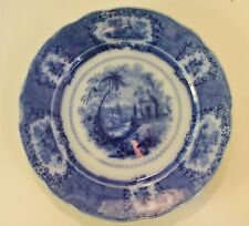 antique English flow blue Oriental plate