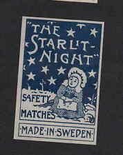 Ancienne   étiquette allumette Suède BN4386 The Starlit Night