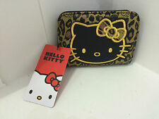NEW SANRIO HELLO KITTY LOUNGEFLY LEOPARD PRINT BLACK GOLD BIFOLD BILLFOLD WALLET