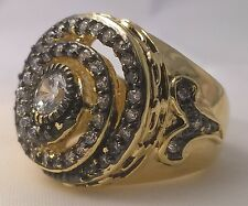 G-Filled Ladies 18kt yellow gold simulated black and white diamond ring spiral