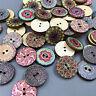100pcs bottoni misti in legno fiori vintage bottoni in legno 20mm diametro PBTM