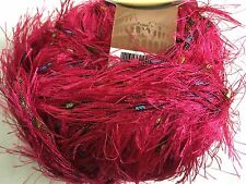 KFI Knitting Fever Cameo #03 Fuchsia Pink Eyelash Yarn with Ladder Ribbon Yarn