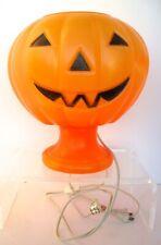 Vtg Halloween Blow Mold Lighted Pumpkin Jack O Lantern on Pedestal Table Top