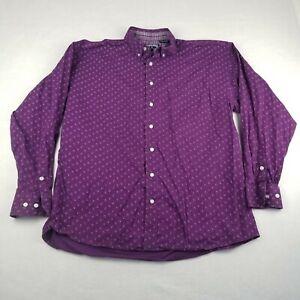 Panhandle Shirt Size Large Purple Geometric Button Down Dress Western Cotton