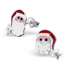 925 Sterling Silver Children's Kids Santa Claus Ear Studs with Crystal-Gift Box
