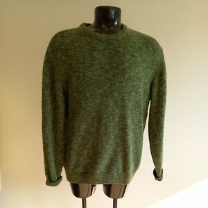Mens Barbour Beaufort Chunky Tweed Crew Neck Olive Size XL (#H1/21)