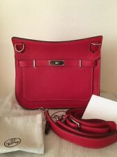 Authentic Hermes Jypsiere 28 Rouge casaque/Rose Japiur Bicolor Clemence PHW