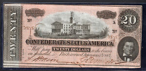 1864 $20 Confederate States of America, T-67 #38785 XI series UNC Keating & Ball