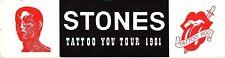 "Rolling Stones 1981 Tattoo You Tour Original Vintage Bumper Sticker 11""x3"" Rare"