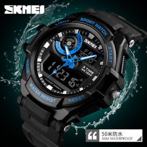 SKMEI 1357 Men's Digital Sports Wristwatch 50m Waterproof Quartz Watch 3 Time US