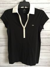 Lacoste Women's S/S Pima Cotton Stretch Polo Shirt Top Black Size Small (38) K1