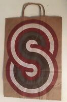 Vintage 1960-70's Hip Modern Artsy Silkscreen Style Brown Shopping Bag