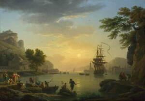 Claude Joseph Vernet A Landscape at Sunset Poster Giclee Canvas Print