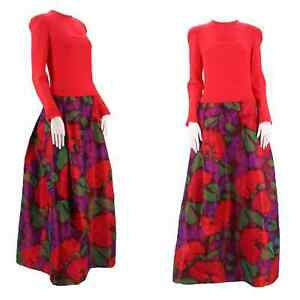 70s STAVROPOULOS watercolor silk evening dress 1970s vintage ball gown Halston L